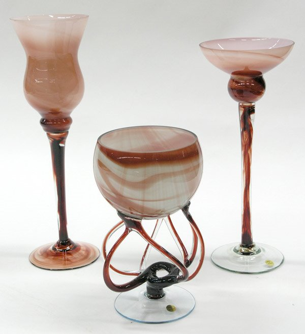 6011: 3 Art Glass Pedestal Vases