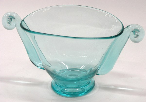 6023: Art Deco Blue Glass Console Bowl