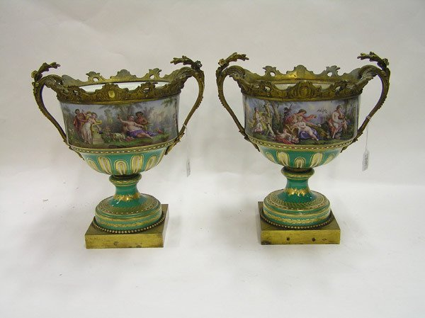 6403: Pair of 19th cent. Sevres style French urns