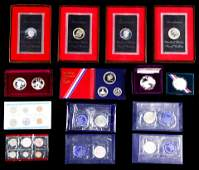 A collection of United States proof silver coin sets
