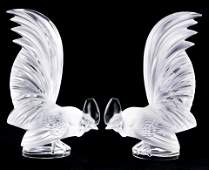 A pair of Lalique, France, frosted glass figural