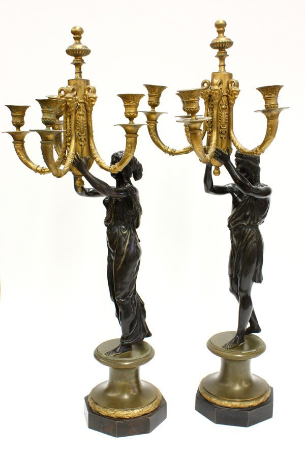 2200: French gilt and patinated bronze candelabra
