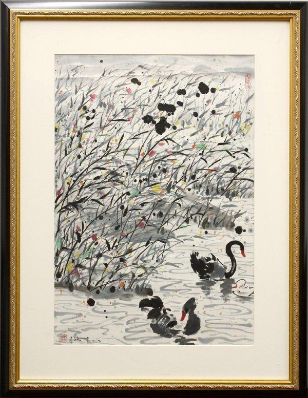 2500: Chinese Fan Painting, after Wu Guanzhong, Swans