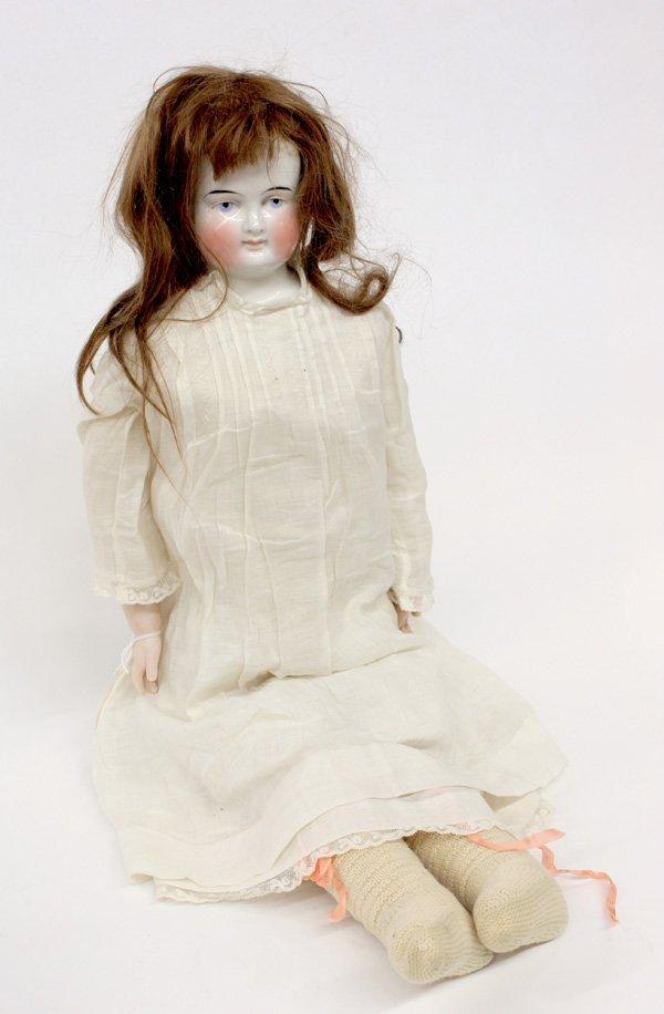 23: Biedermeier wigged china head doll - 2