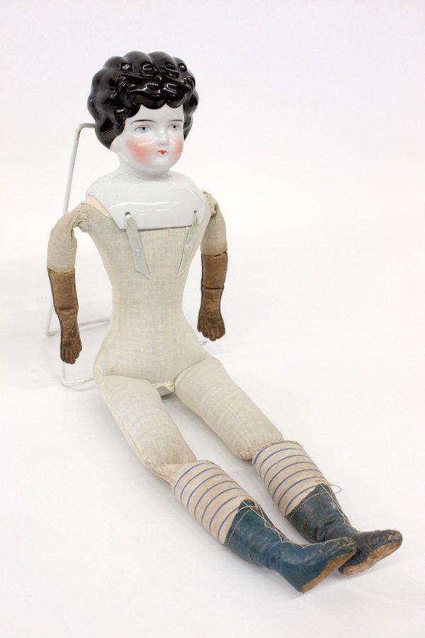 23: Biedermeier wigged china head doll - 4
