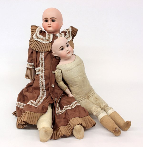 24: (lot of 2) Bisque shoulder head dolls