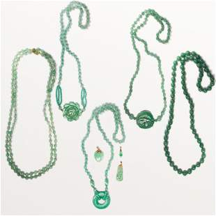 A group of aventurine and jade jewelry