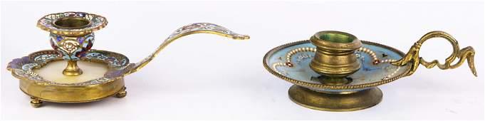 lot of 2 French enamel gilt bronze chamber sticks