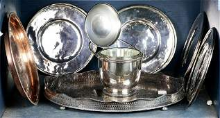 lot of 11 Italian silverplate and copper group