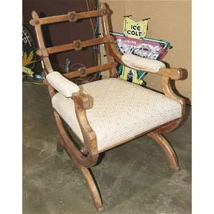 Late Victorian oak armchair