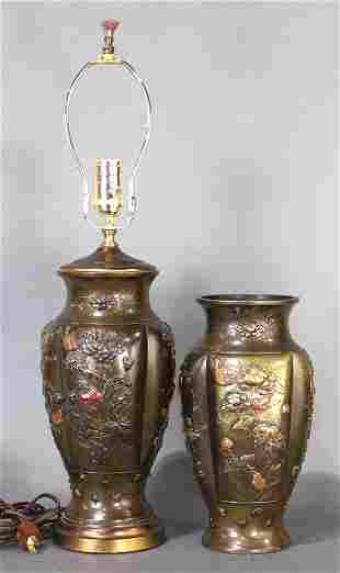 A pair of Japanese mixed metal bronze vases