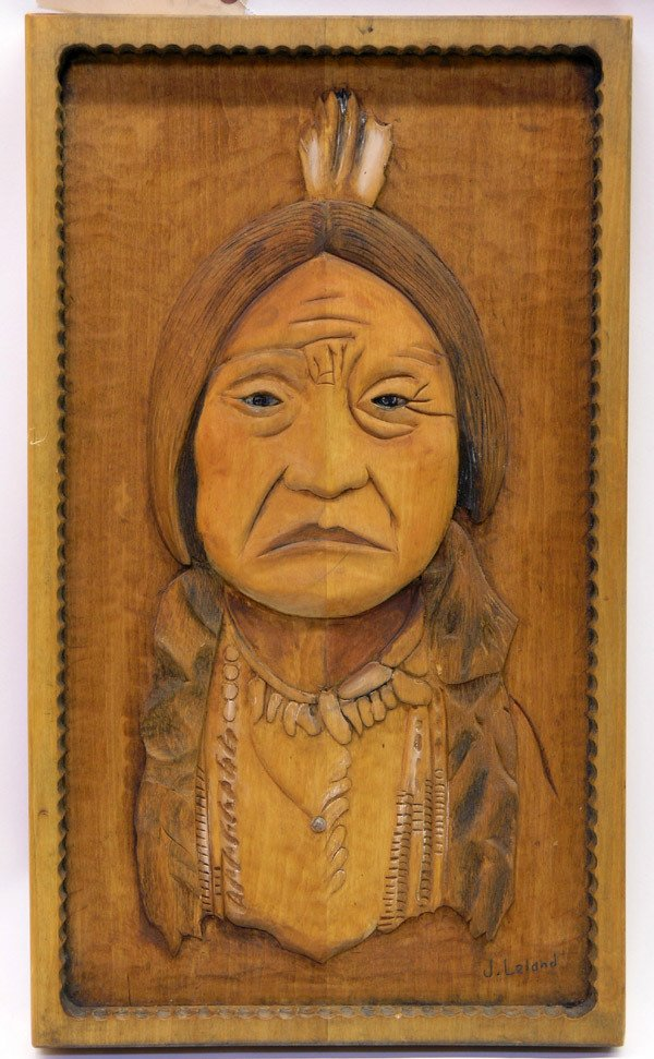 4005: Native American carved wood portrait