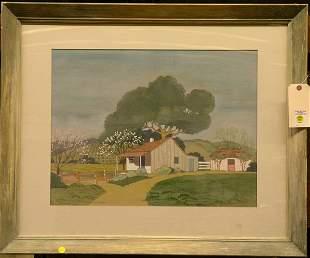 Framed watercolor, Barn, Carol Weston