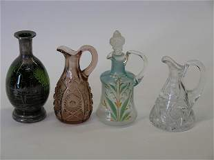 Cruets and silver overlay bottle