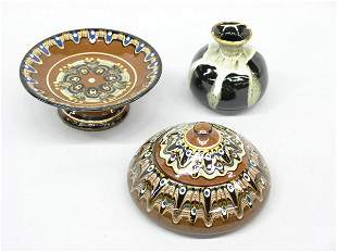 Russian art pottery compote, jar & vase