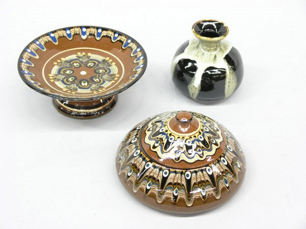 4023: Russian art pottery compote, jar & vase