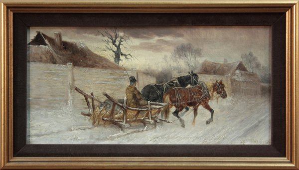 6003: Man on Sled Pulled by Two Horses