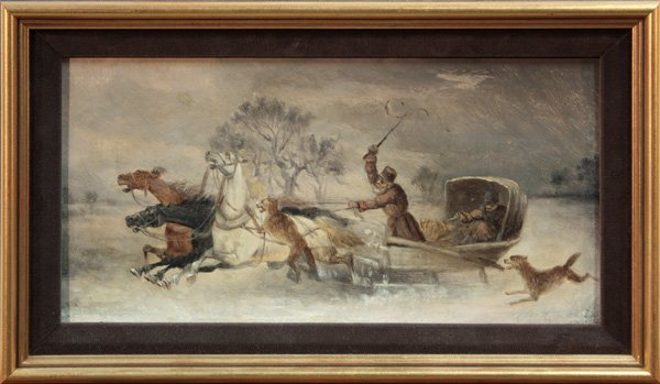 6005: Sleigh with Horses Fleeing from Wolves