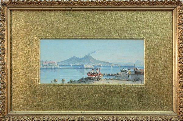 6011: Boats on a Shore near a Volcano