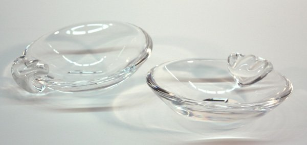 6018: Steuben clear glass ashtrays