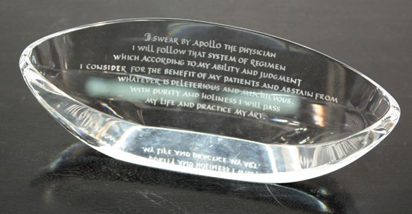 6022: Steuben glass Hippocratic oath in oval