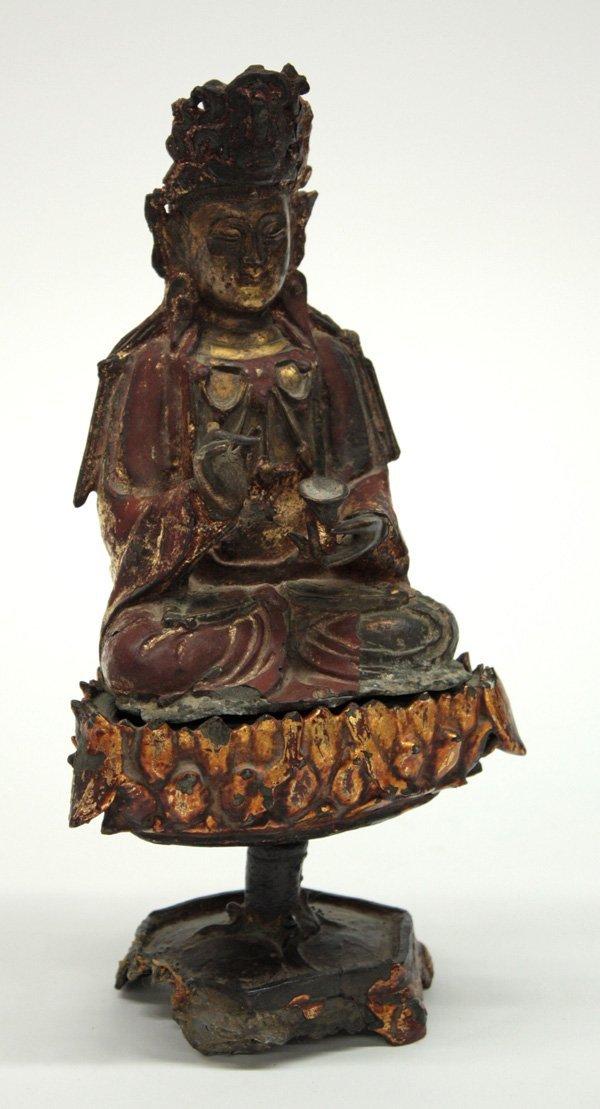 6527: Chinese Gilt Metal Buddhist Figure