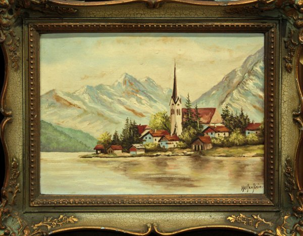4003: painting, Helfenstein, Town on a Lake