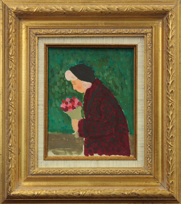 4008: Woman with Bouquet of Flowers