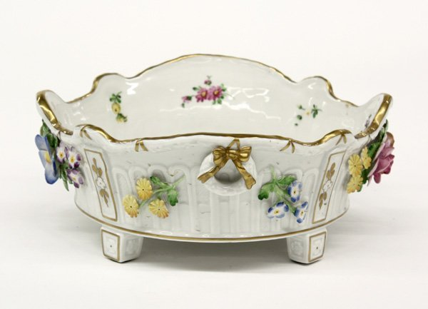 4018: German porcelain hand decorated center bowl