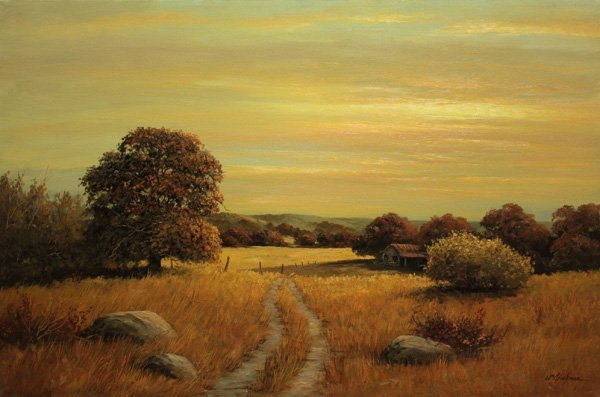 4384: oil painting, Sunset Landscape, William Blackman