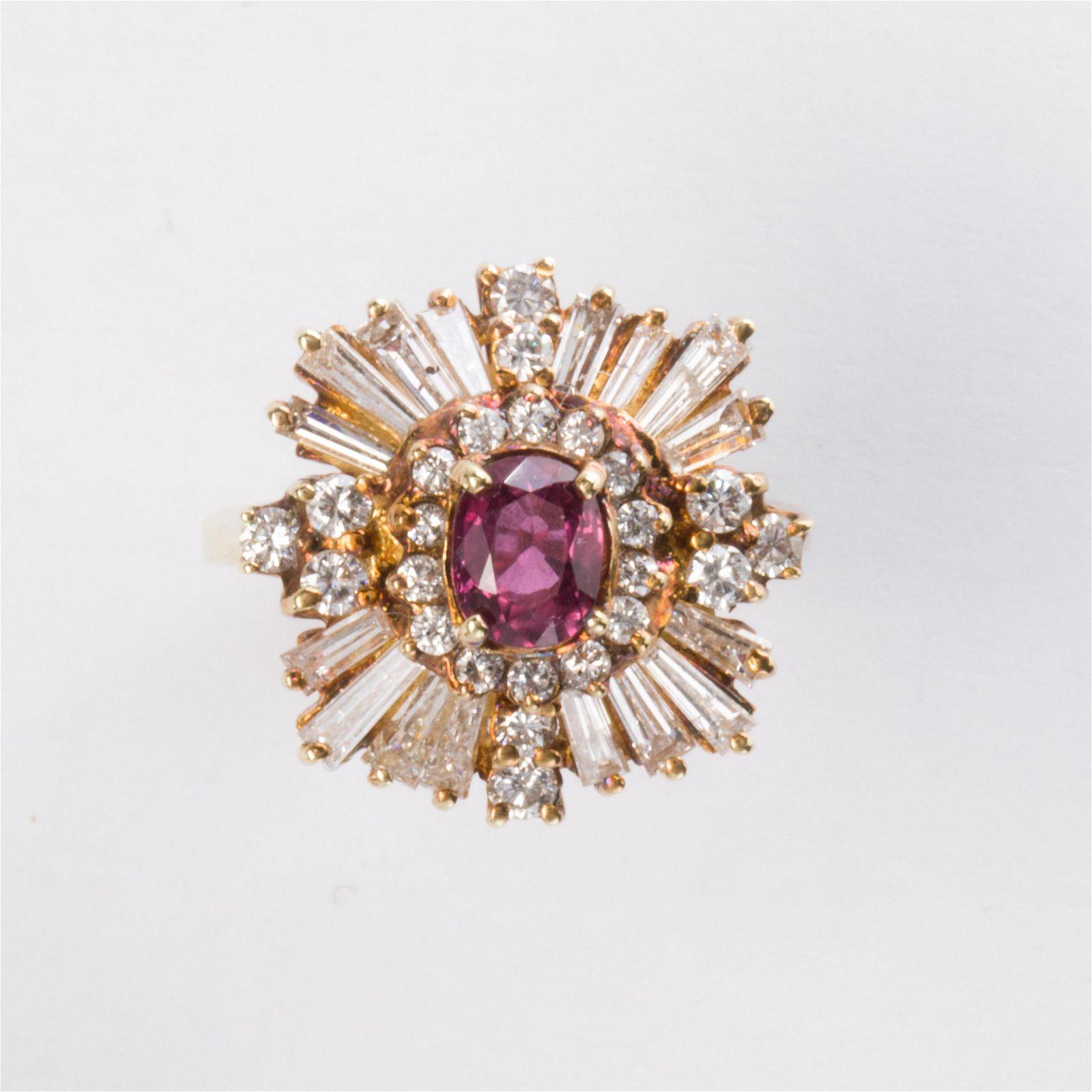 A ruby, diamond and fourteen karat gold ring