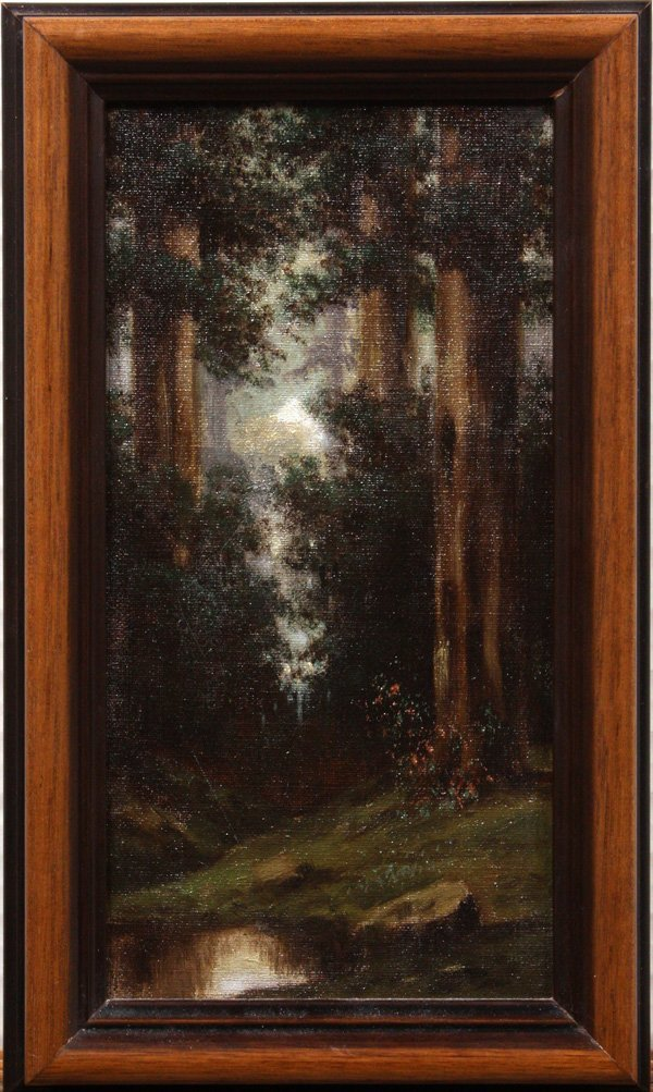 2001: Oil painting, ''Wooded Landscape,'' 20th century