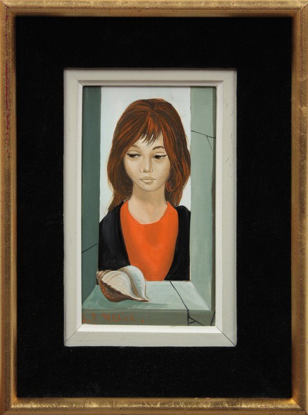 2009: painting, Girl, Portrait, Jean Pierre Serrier