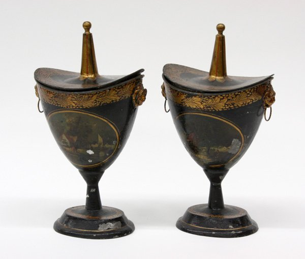 2011: Regency tole decorated chestnut urns