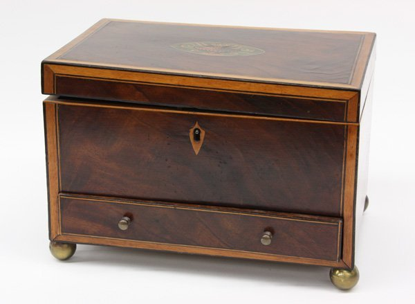 2019: George III inlaid crotch mahogany dresser box