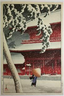 2430: Japanese Modern Print, Hasui, Zojoji, Shiba