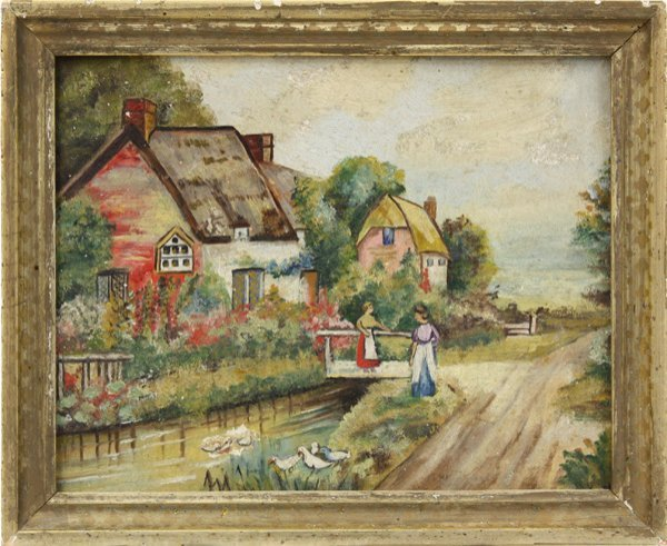 3: Painting, Contemporary, Village with a Stream