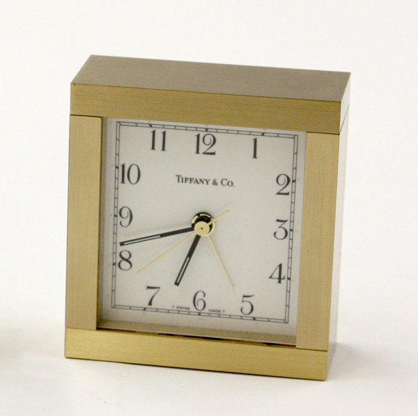 49: Tiffany & Company square brass alarm clock