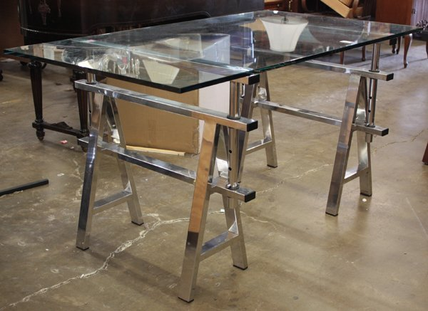 623: Pair of Chrome Sawhorse Table Bases