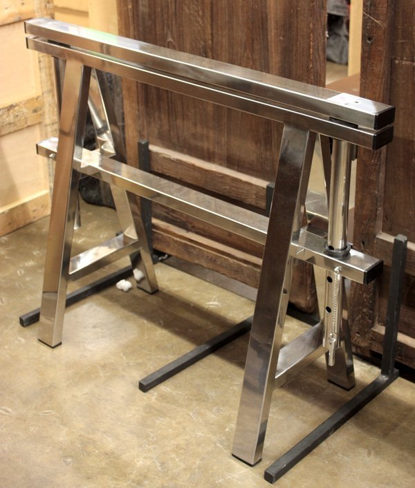 623: Pair of Chrome Sawhorse Table Bases - 2