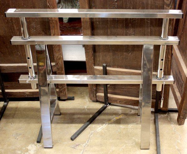 623: Pair of Chrome Sawhorse Table Bases - 3