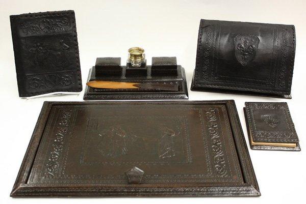 6012: Embossed leather desk set,