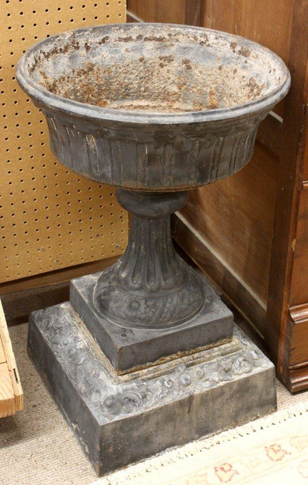 6013: Victorian cast iron urn on pedestal Walridge & Co