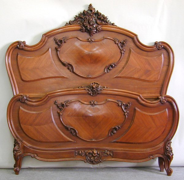 6016: Louis XV style carved walnut bedroom suite