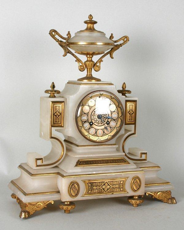6017: Napoleon III gilt bronze and albaster mantel cloc