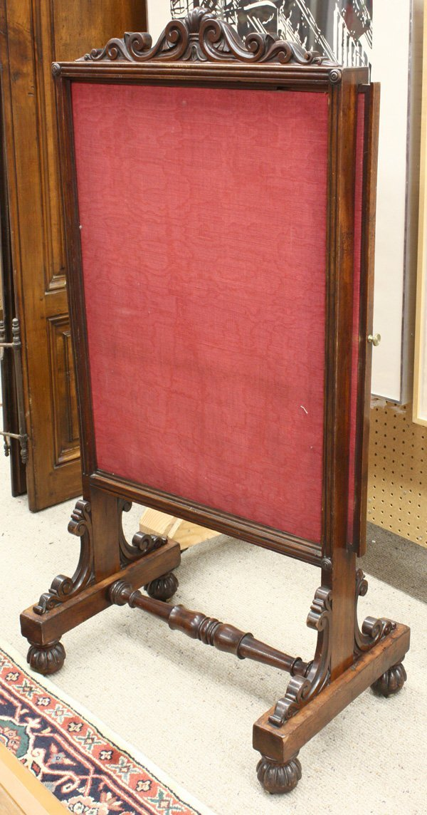 6018: Carved walnut Victorian fire screen