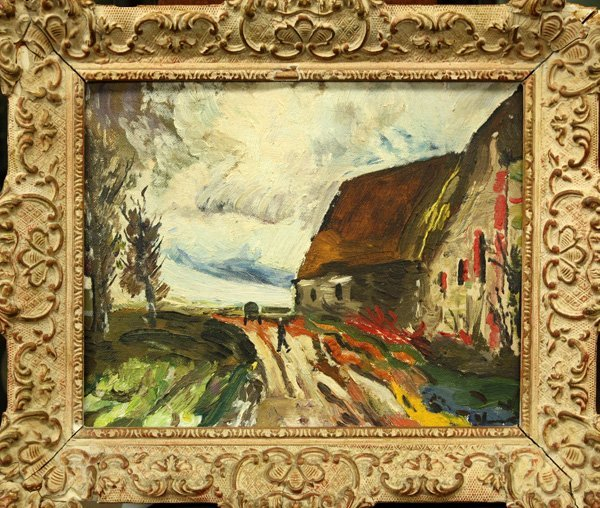 4005: Painting, after Maurice de Vlaminck, Village Scen