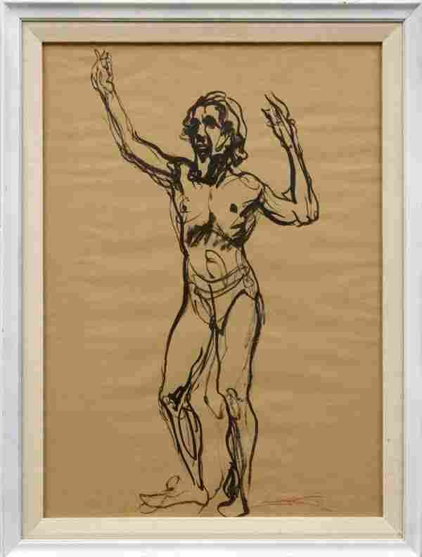 watercolor, Emil Jean Kosa Jr., Nude