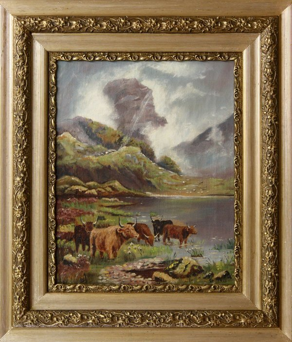 4445: Painting, Mountain Scenes, Cows, Chalets
