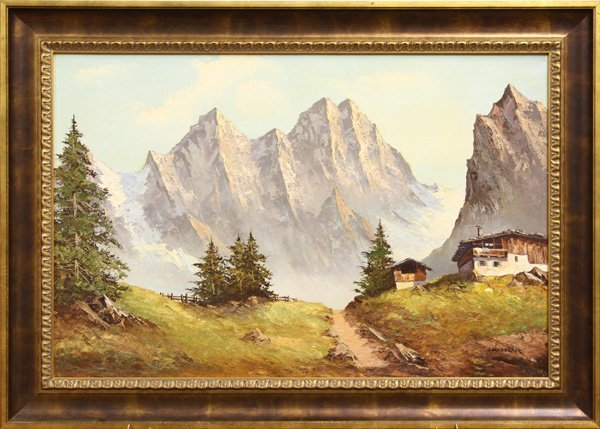 4445: Painting, Mountain Scenes, Cows, Chalets - 2
